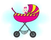 婴儿推车的女孩 库存图片