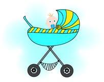 婴儿推车的男孩 库存照片