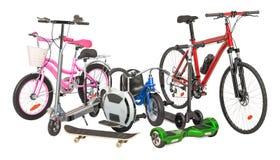 儿童三轮车、自行车、成人自行车、电单轮脚踏车、电反撞力滑行车、滑板和自平衡的滑行车 3d 皇族释放例证