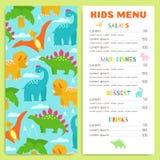 儿童与恐龙的` s菜单 设计传染媒介模板 库存图片