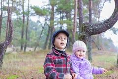 儿童两一起兄弟姐妹森林 免版税图库摄影