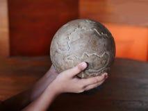 儿童举行的手世界球的 免版税图库摄影