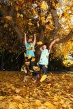 儿童五颜六色的秋天愉快的叶子户外 免版税库存照片
