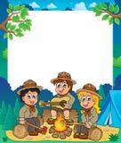 儿童侦察员主题框架1 免版税图库摄影