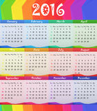 2016儿童儿童样式日历传染媒介例证 库存照片
