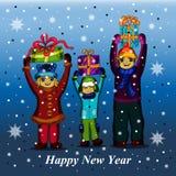 儿童儿童礼品礼品女孩绿色程序包红色 袋子看板卡圣诞节霜klaus ・圣诞老人天空 免版税图库摄影