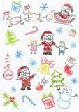 儿童克劳斯・圣诞老人sketchs向量 免版税库存照片