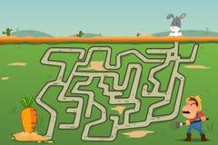 儿童兔子和红萝卜迷宫比赛  免版税库存照片