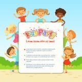 儿童党的传染媒介海报 在活跃姿势的滑稽的不同的孩子 向量例证
