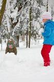 儿童公园冬天 免版税库存图片