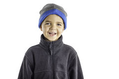 儿童冬天给3穿衣 免版税图库摄影