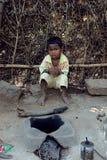 儿童印地安人村庄 库存照片