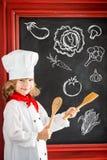 儿童厨师厨师 餐馆业概念 免版税图库摄影