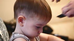 儿童发型 工作与小男孩的美发师在理发店 梳头发孩子的美发师 做理发为的人 股票视频