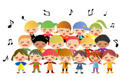 儿童唱诗班唱歌 免版税库存照片