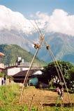 儿童喜马拉雅山nepla摇摆 免版税库存照片