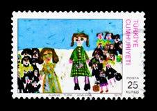 儿童图画, serie,大约1975年 免版税库存图片