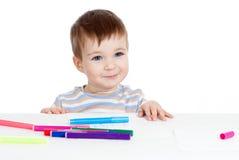 儿童图画在被隔绝的桌上 库存照片