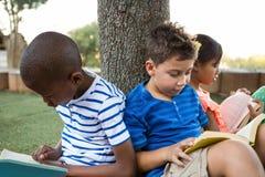 儿童在公园的阅读书 免版税库存照片
