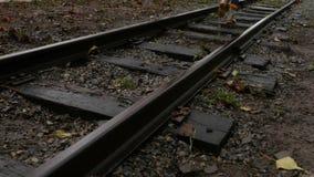 儿童在铁路轨道的` s步 影视素材
