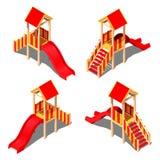 儿童塑料黄色-与屋顶的红色小山-房子,导航在白色背景的等量样式 库存照片