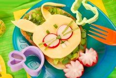 儿童复活节三明治 图库摄影