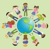 儿童多文化和平使用 图库摄影