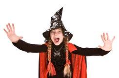 儿童女孩万圣节现有量终止巫婆 免版税库存照片