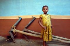 儿童女孩农村的印度 免版税库存图片