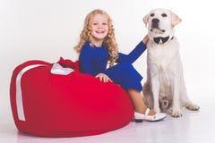 儿童女孩和在白色隔绝的拉布拉多狗 库存图片
