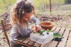 儿童女孩探索的自然在早期的春天森林哄骗学会爱自然 关于季节改变的教的孩子 免版税库存照片