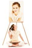 儿童女孩画家 免版税库存图片