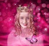 儿童女孩粉红色公主女王/王后 免版税图库摄影
