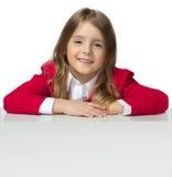 儿童女孩画象白种人隔绝了白色板料海报backgr 免版税库存照片