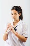 儿童实践的记录器 免版税库存照片