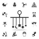 儿童尿布,在小儿床象的一个玩具 详细的套婴孩戏弄象 优质质量图形设计 一汇集 皇族释放例证