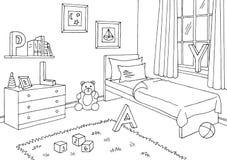 儿童居室图表黑白色内部剪影例证传染媒介 免版税库存照片