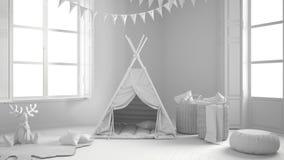 儿童居室总白色项目有家具,地毯和十的 免版税图库摄影
