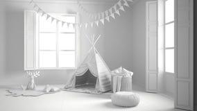 儿童居室总白色项目有家具,地毯和十的 免版税库存图片