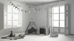 儿童居室未完成的项目有家具、地毯和帐篷的 免版税库存图片