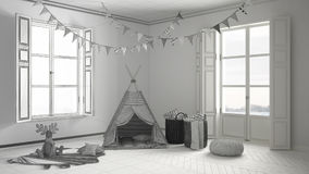 儿童居室未完成的项目有家具、地毯和帐篷的 免版税图库摄影