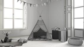 儿童居室未完成的项目有家具、地毯和帐篷的 免版税库存照片