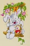 儿童居室的-晴朗的兔宝宝图片 十字绣 免版税库存照片