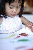 儿童工作绘画 免版税库存照片