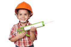 儿童建筑工人和硅 库存照片