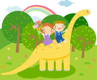 儿童恐龙乘驾 免版税库存照片