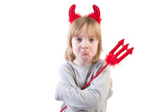 儿童恶魔淘气的万圣节 库存图片