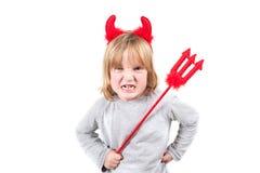 儿童恶魔淘气的万圣节 免版税库存照片