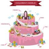 儿童想象力幻想世界地图在婚宴喜饼形状的 免版税库存照片
