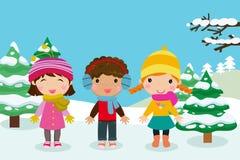 儿童愉快的使用的雪 库存照片